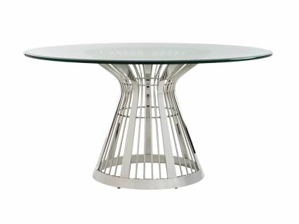 Riviera Stainless Dining Table With Glass Top