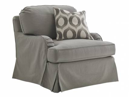 Stowe Slipcover Swivel Chair-Gray