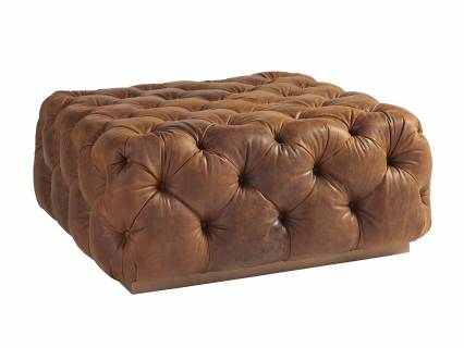 Laurel Leather Cocktail Ottoman