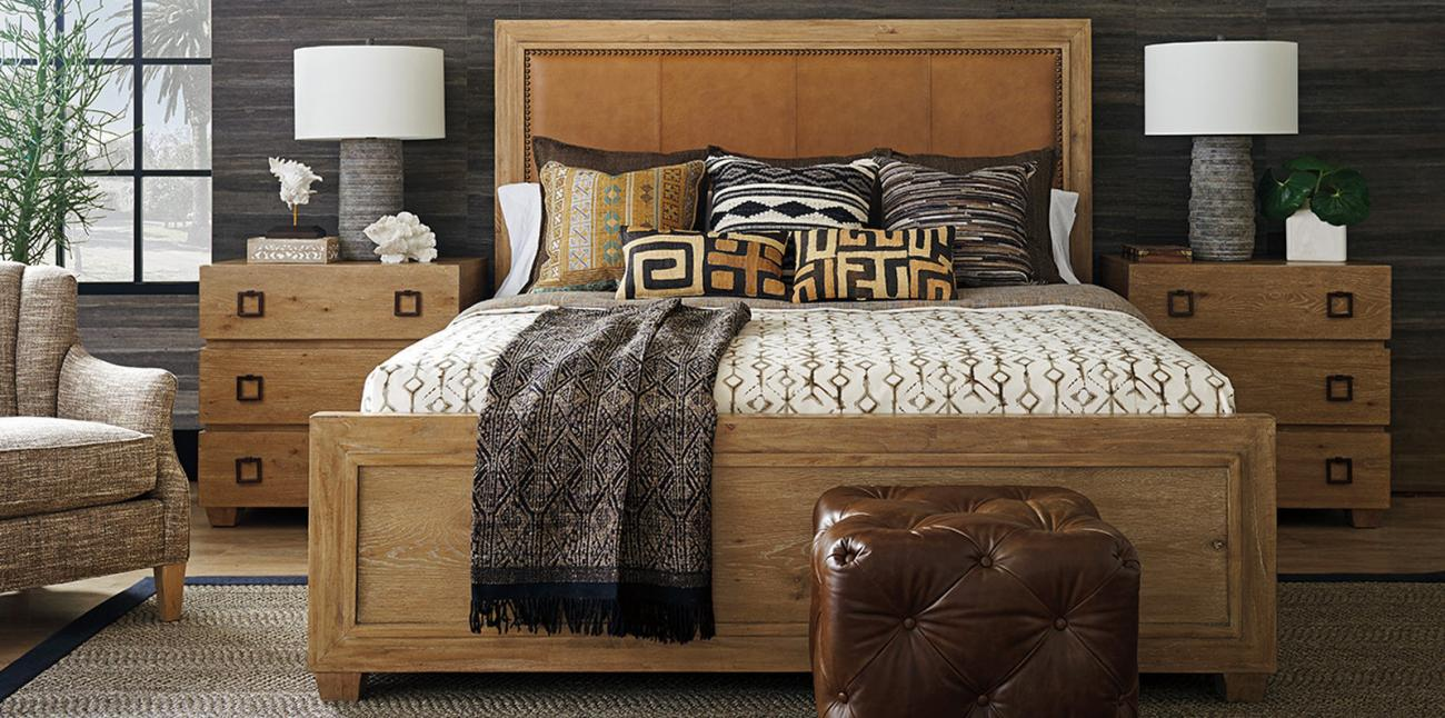 Los Altos Bed with Leather Headboard and Nightstand